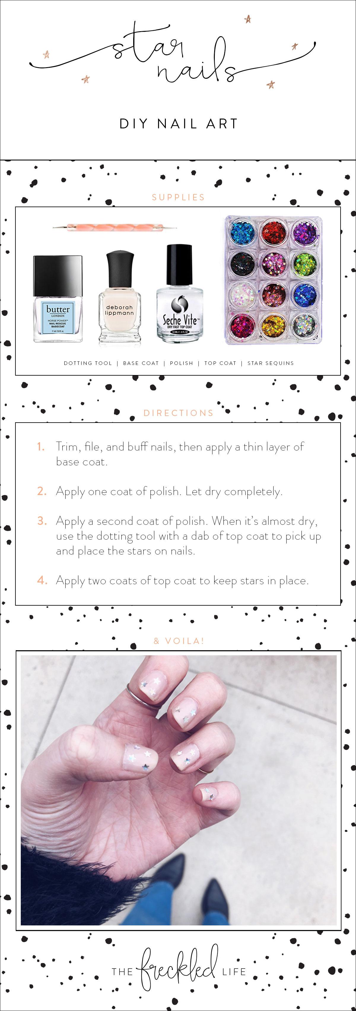 Diy Star Nail Art The Freckled Life Nyc Fashion Blog