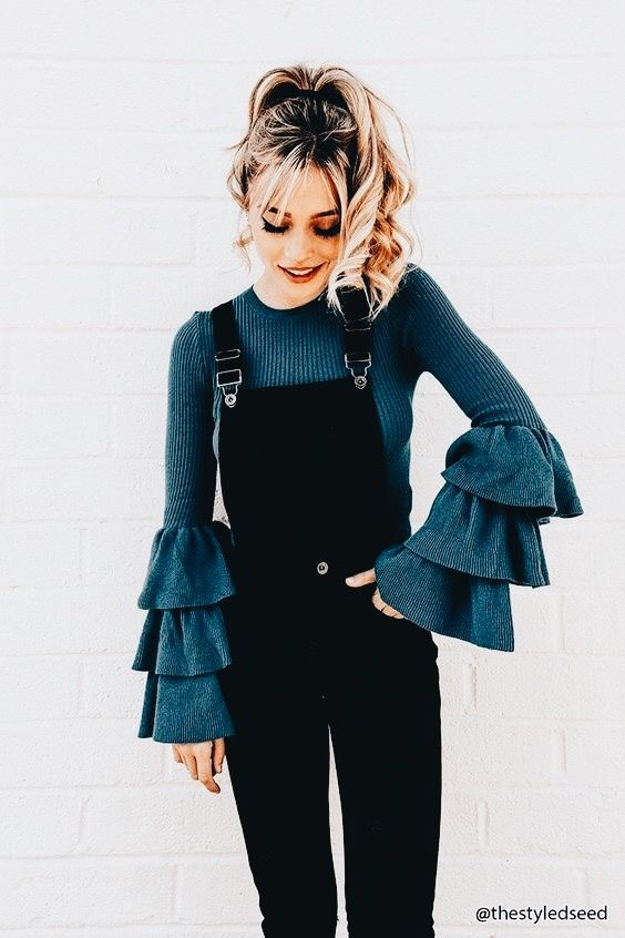 tier-sleeve-sweater-overalls-outfit