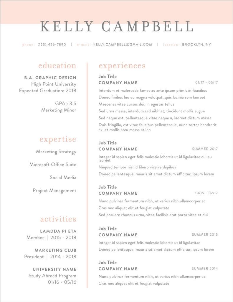 Résumé + Cover Letter Templates | The Freckled Life